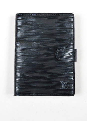 "Black Louis Vuitton Textured Leather ""Epi"" Small Ring Snap Agenda Frontview"