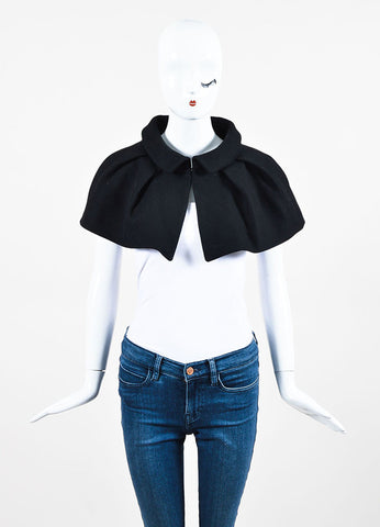 Black Louis Vuitton Wool Pleated Mini Cape Frontview 2