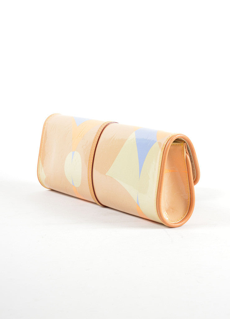 Louis Vuitton Tan, Blue, and Orange Patent Leather Vernis Embossed Pochette Fleur Bag Sideview