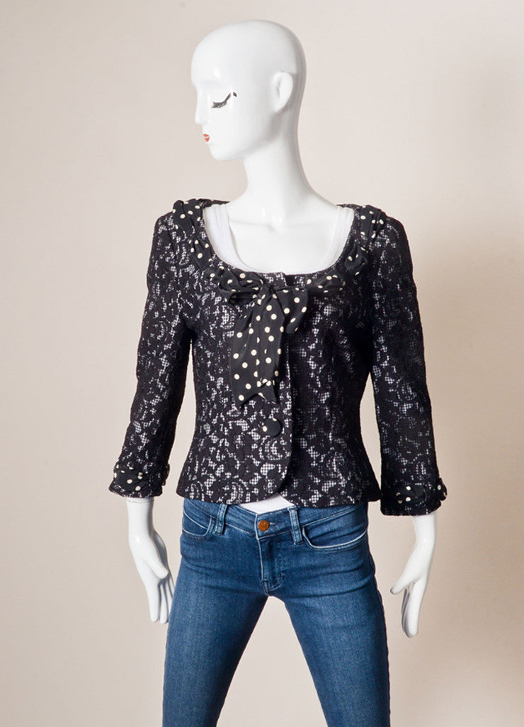 Moschino Cheap & Chic Black and White Check Lace Polka Dot Bow Jacket Frontview