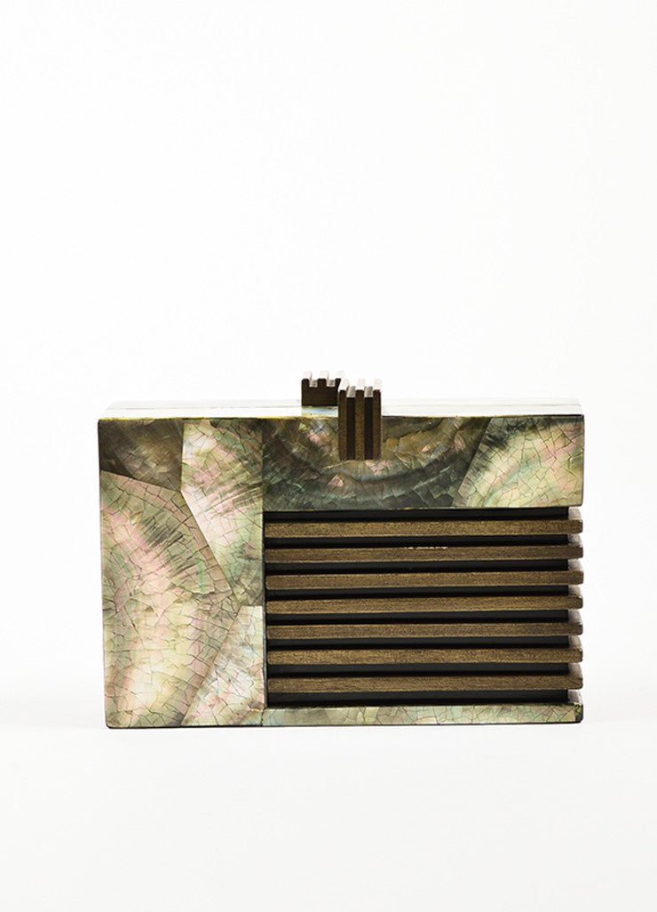 Nathalie Trad Green and Brown Opalescent Shell Resin Wood Box Clutch Bag Frontview