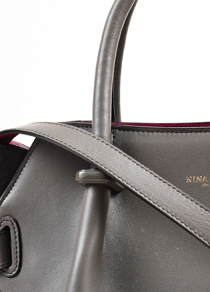"Nina Ricci Grey and Magenta Leather ""Le Marche"" Shoulder Bag Detail 2"