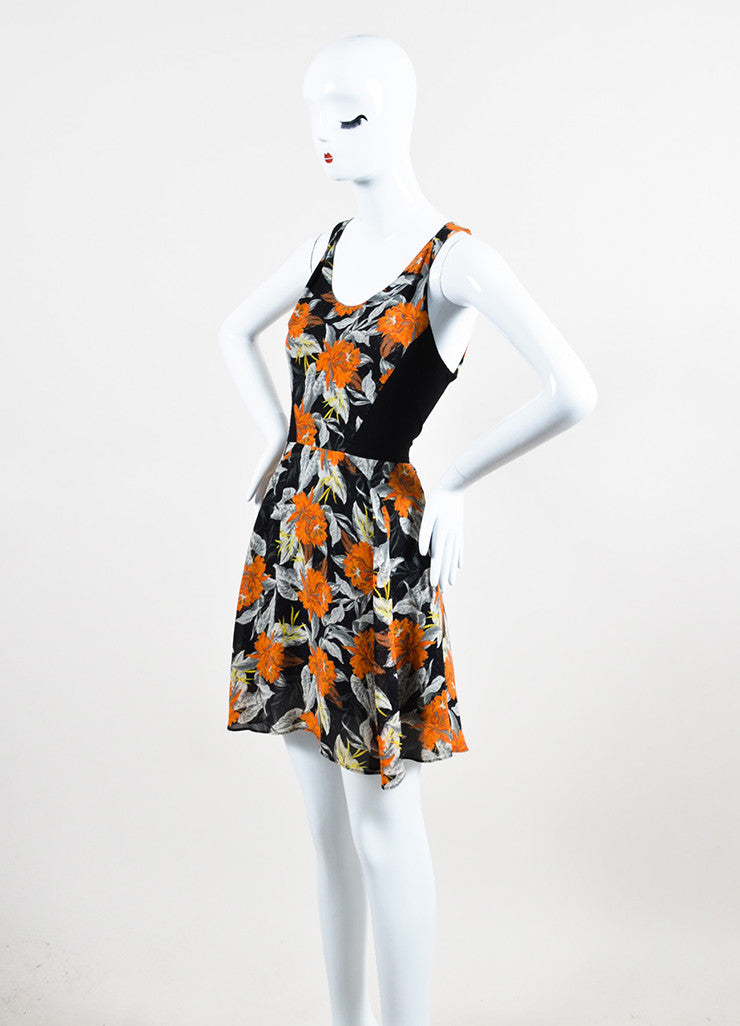 Black, Orange, and Grey Proenza Schouler Silk Sleeveless Hibiscus Flippy Dress Sideview