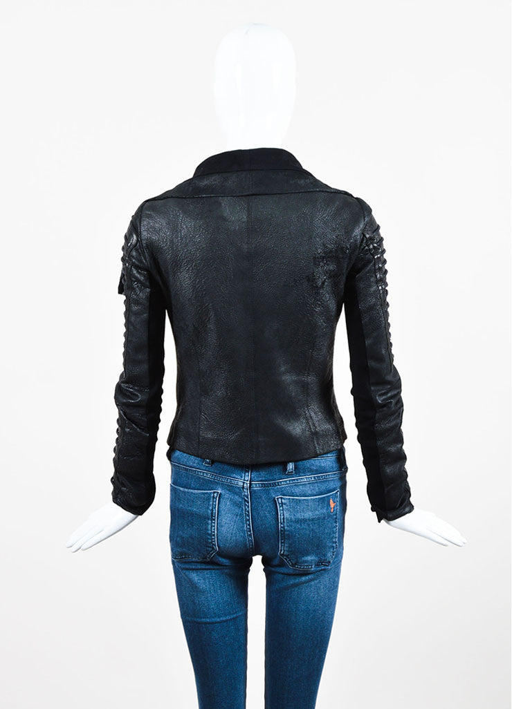 Rick Owens Black Coated Leather and Wool Laced Sleeve Asymmetrical Jacket Backview