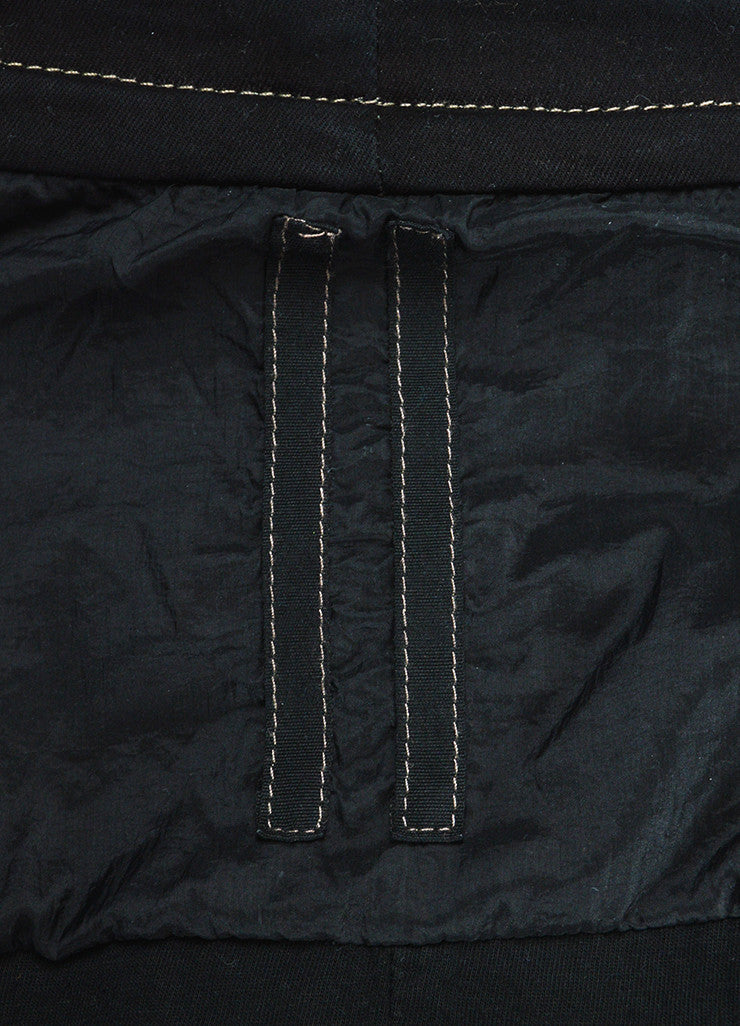 Rick Owens Black Waxed Denim Leather Sleeve Buttoned Jacket Detail 2