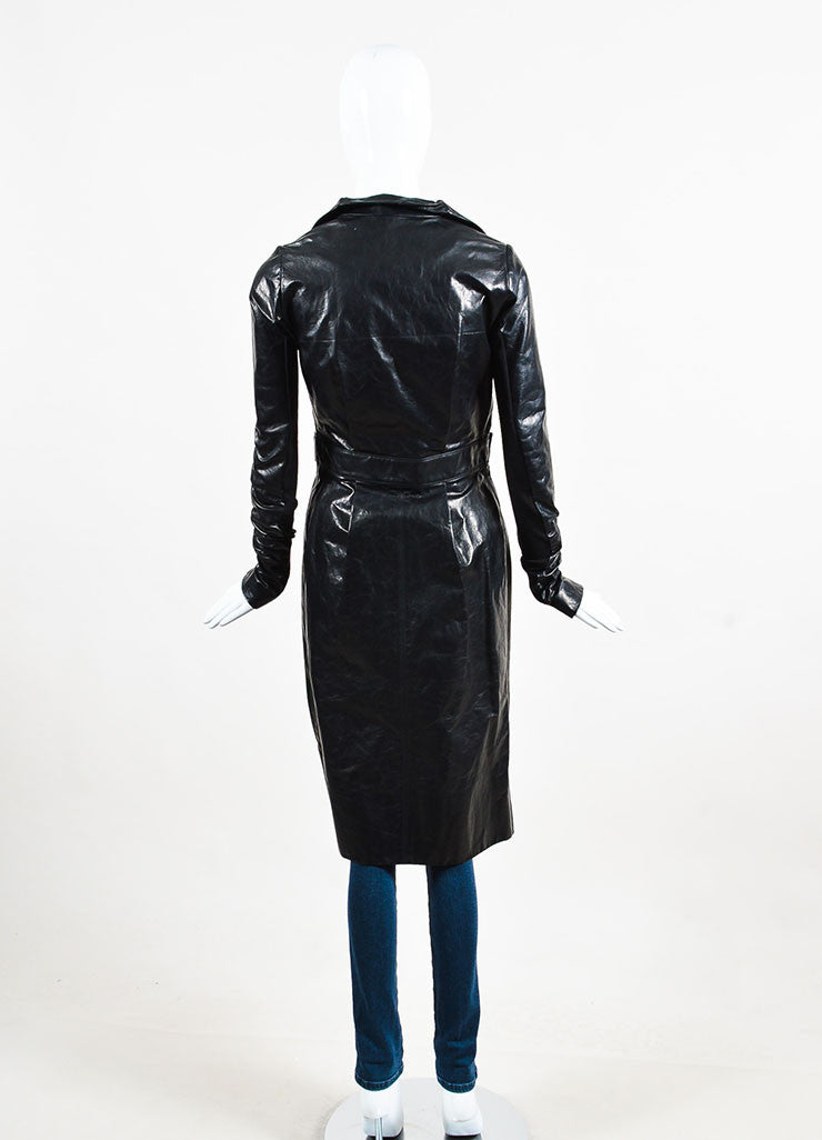 "Black Rick Owens Leather ""Salon"" Trench Coat Back"