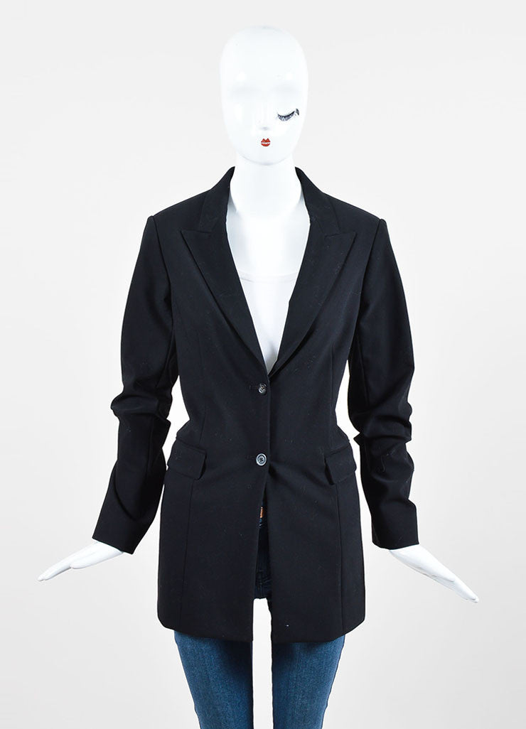 "The Row Black Cotton Wool ""Pliner"" Two Button Blazer Jacket Frontview 2"