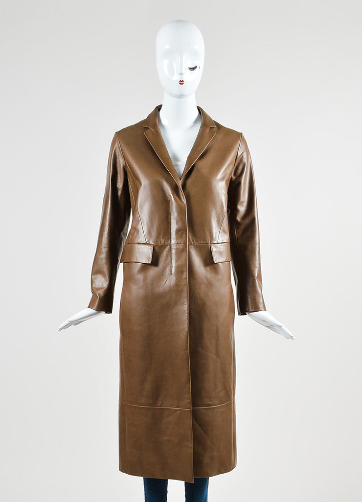 "The Row ""Mushroom"" Brown Lamb Leather ""Trackson"" Long Sleeve Coat Frontview 2"