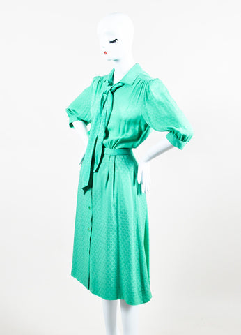 Hermes Green Silk 'H' Flag Belted Three-Quarter Length Sleeve Dress Sideview