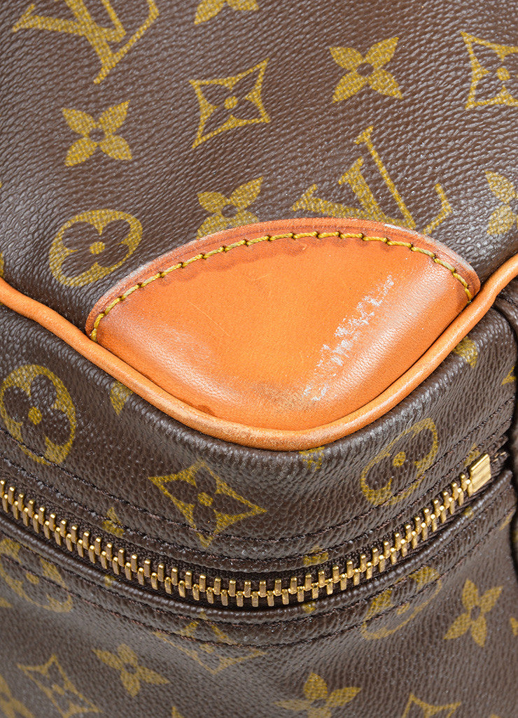 "Brown Louis Vuitton Monogram Canvas ""Sirius 55"" Luggage Travel Bag Detail"