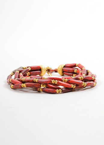 William DeLillo Red and Gold Toned Multistrand Beaded Choker Necklace Sideview
