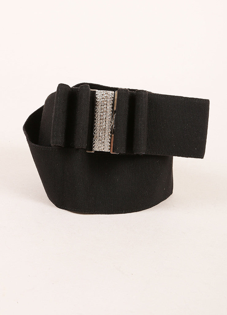 Valentino Black Crystal Buckle Ribbon Bow Belt Frontview