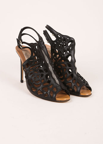 Valentino Black Lasercut Leather Mesh Inset Peep Toe Heeled Ankle Booties Frontview