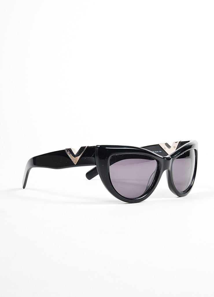 "Black and Silver Toned Valentino Plastic Cat Eye Retro Inspired ""5749 S"" Sunglasses Sideview"