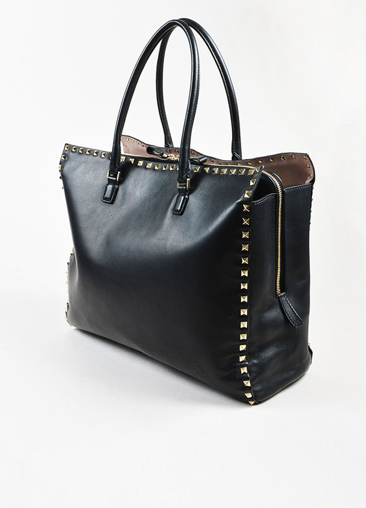 "Valentino Garavani Black Leather ""Rockstud"" Top Handle Shopper Tote Bag Sideview"