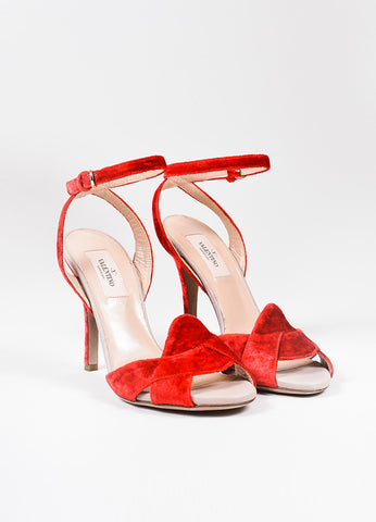 Scarlet Red Valentino Garavani Crushed Velvet Ankle Wrap High Heel Sandals Frontview