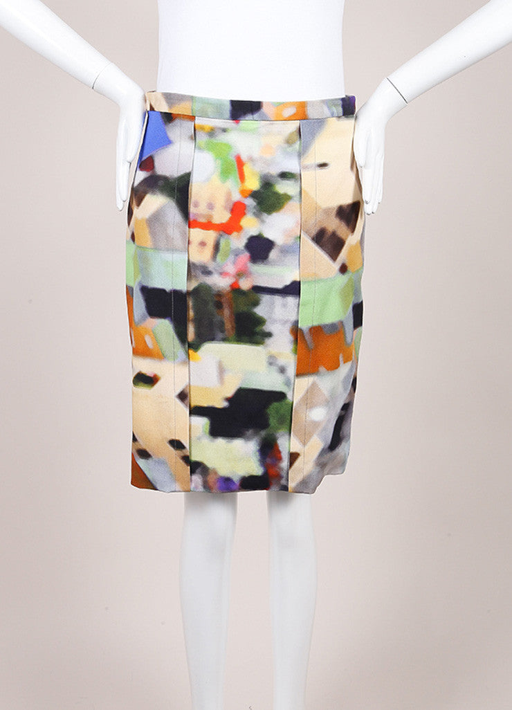 Yigal Azrouel Multicolor Cotton Blend Watercolor Woven Pencil Skirt Frontview