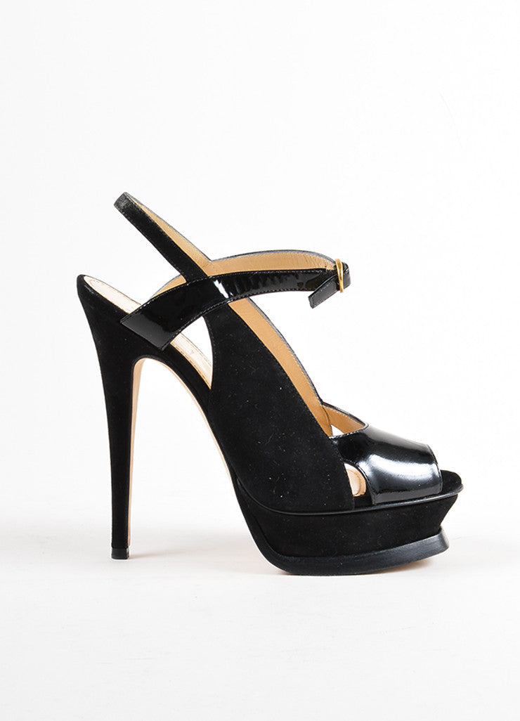 Yves Saint Laurent Black Suede and Patent Leather Cut Out Platform Pumps Sideview