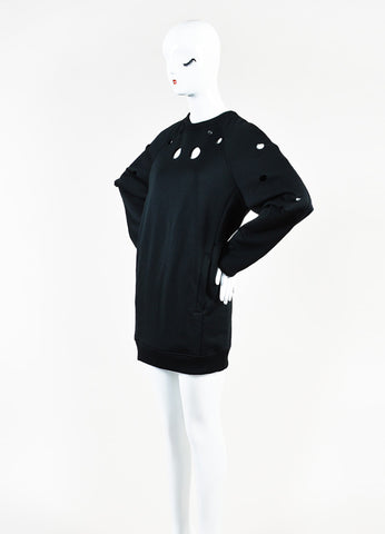 "Acne Studios Black Cotton Knit Cut Out ""Fiera"" Long Sleeve Sweater Dress Sideview"
