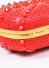 "Alexander McQueen Red Spike Studded ""Britannia Classic Skull"" Clutch Bag Detail"