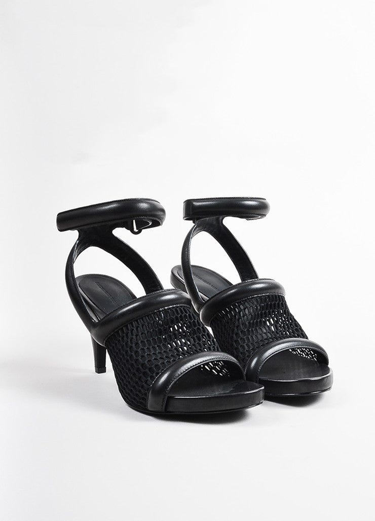"Alexander Wang Black Mesh Leather ""Leah"" Ankle Strap Heels  Frontview"