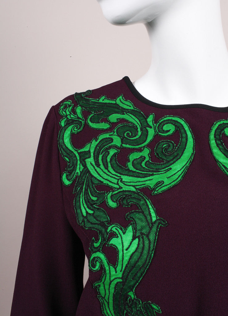 Andrew Gn New With Tags Purple and Green Embroidered Applique Long Sleeve Crepe Blouse Detail