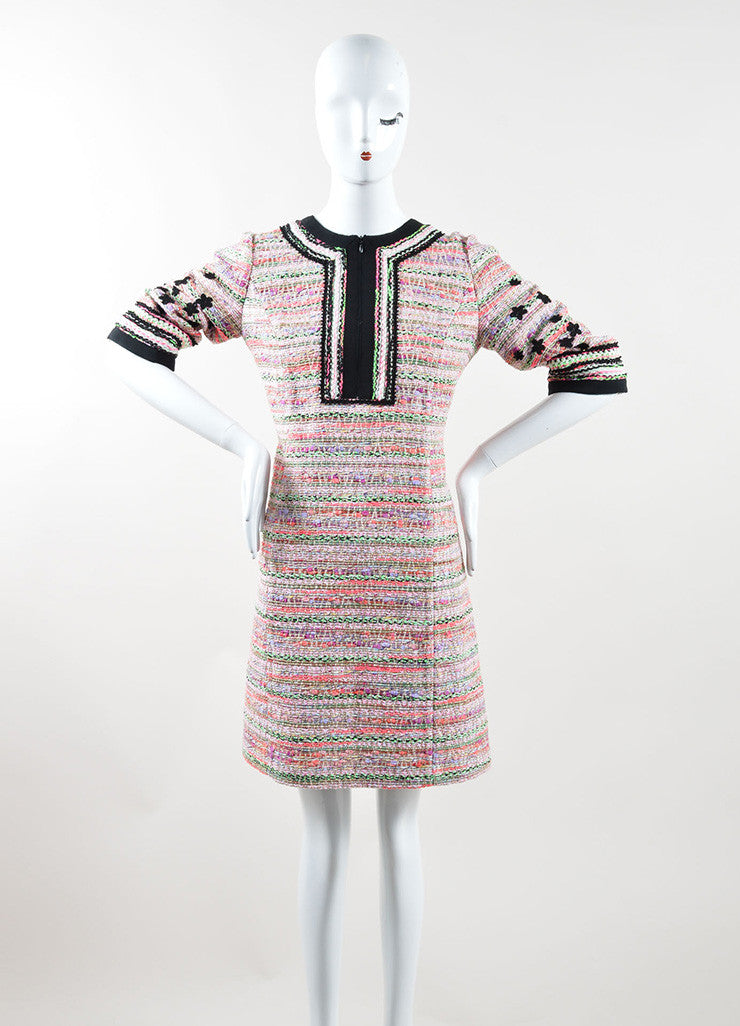 Andrew Gn Pink Black Multicolor Sparkle Woven Floral Shift Dress Frontview