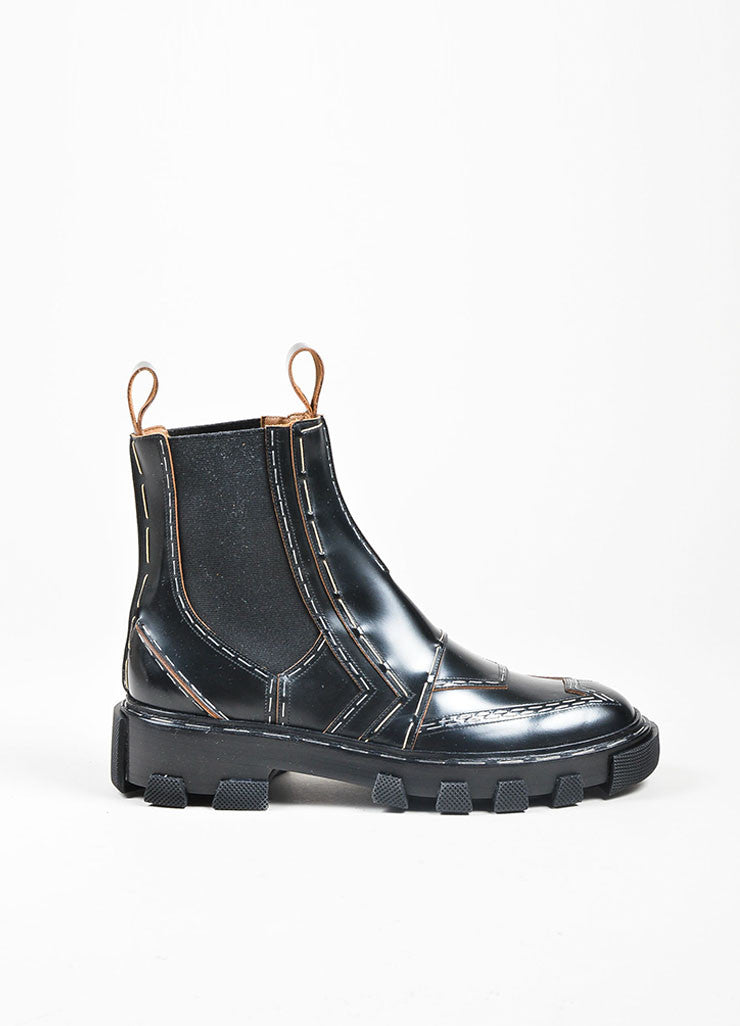 "Black Balenciaga Leather Staple ""Chelsea"" Combat Boots Sideview"