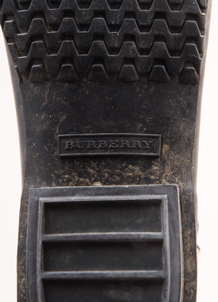 Burberry Black Rubber Studded Buckle Strap Mid Calf Rain Boots Brand