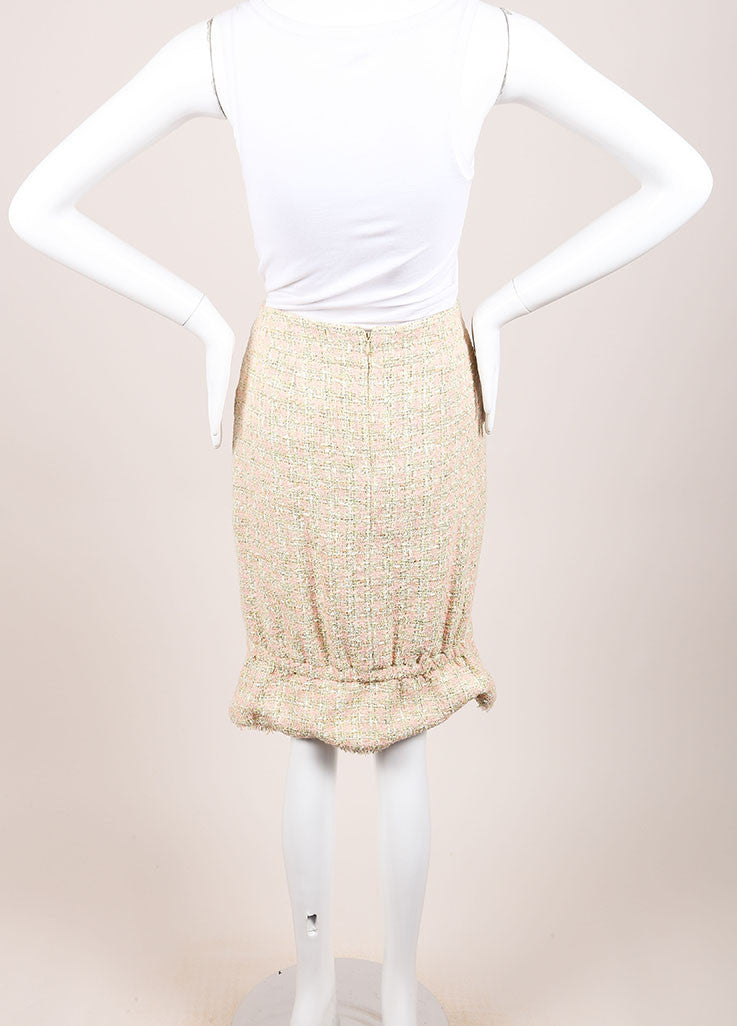 Chanel Green and Pink Houndstooth Tulip Skirt Backview