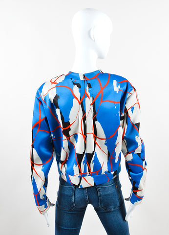 Cedric Charlier Multicolor Abstract Print Scuba Knit Pullover Backview