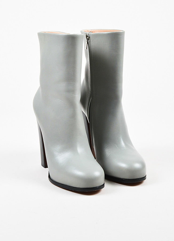 Celine Grey Leather Round Toe Stacked High Heel Mid Calf Boots Frontview