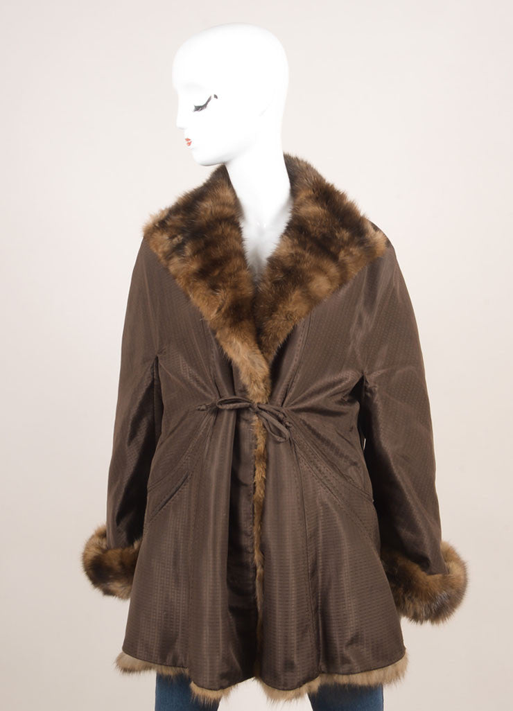 Chado Ralph Rucci Brown Silk Fur Trim Coat Frontview