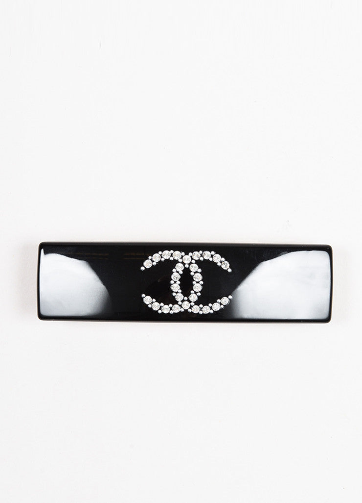 Chanel Black 'CC' Crystal Embellished Rectangular Barrette Hair Clip Frontview