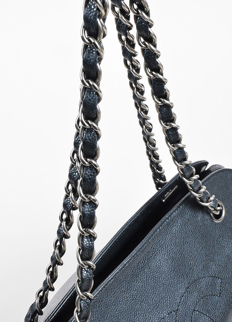 Gunmetal Grey Chanel Caviar Leather Quilted 'CC' Chain Strap Shoulder Bag Detail 2
