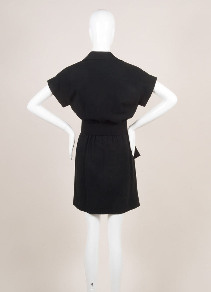 Chanel Black Knit Pleated Button Up Peplum Belted Short Sleeve Dress Backview