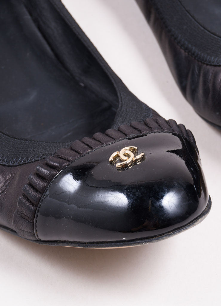"Chanel Black Leather Patent Toe ""CC"" Flats Detail"