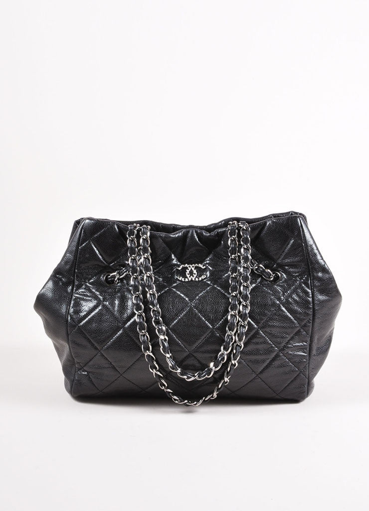 "Chanel Black and Silver Toned Quilted Caviar Leather ""CC"" Logo Shopper Tote Bag Frontview"