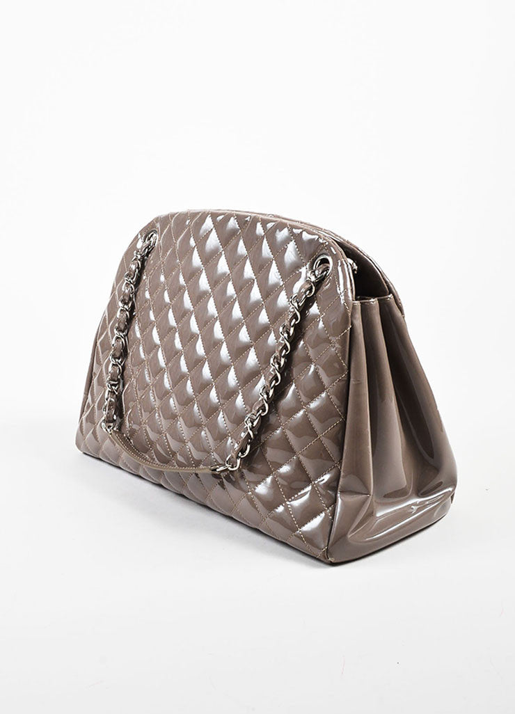 "Chanel Taupe Patent Leather Silver Toned Chain ""Just Mademoiselle Large"" Bag Sideview"