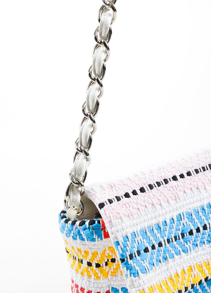 "White and Multicolor Chanel Woven Embroidered Ribbon Flap ""CC"" Turnlock Flap Bag Detail 2"
