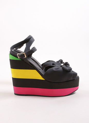 "Charlotte Olympia Black and Neon Striped Rubber Peep Toe Bow ""Miranda"" Wedges Sideview"