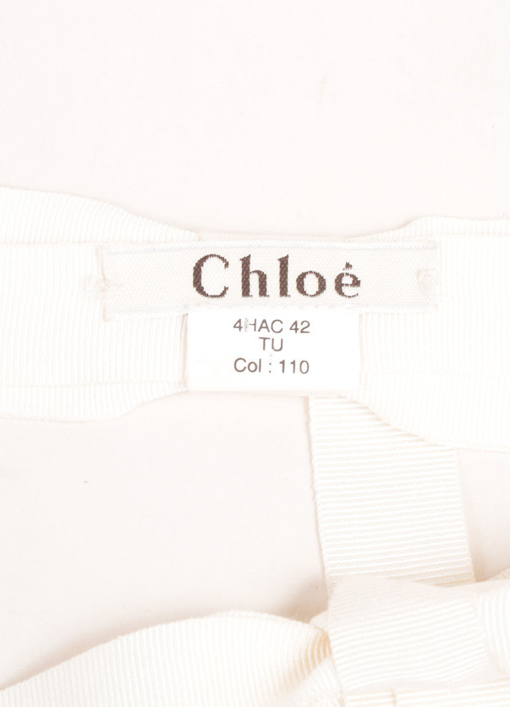 Chloe Cream Knit Ribbon Rhinestone Embellished Bow Tie Belt Brand