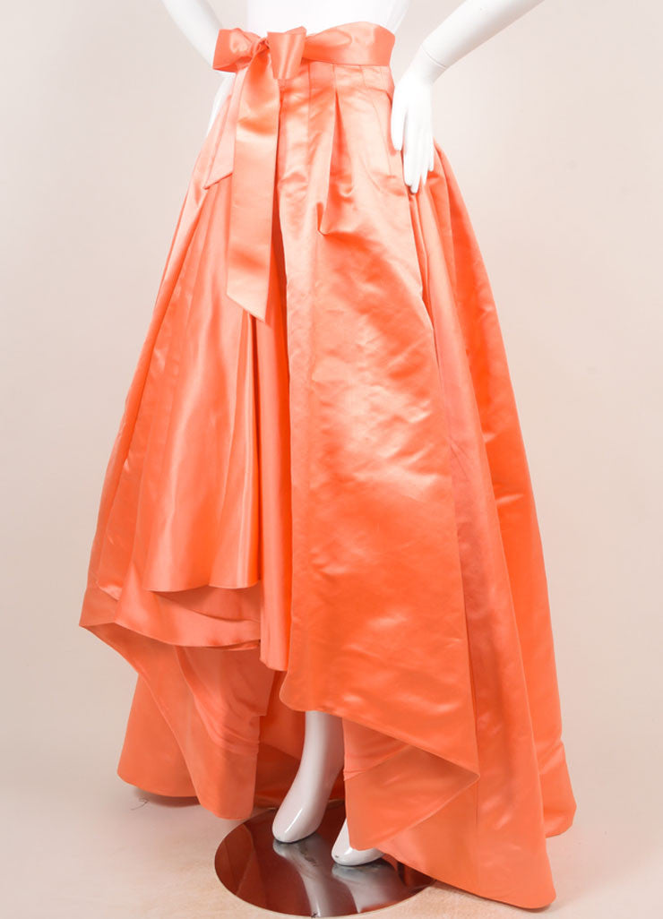 Christian Dior Coral Silk Full Ball Skirt Sideview