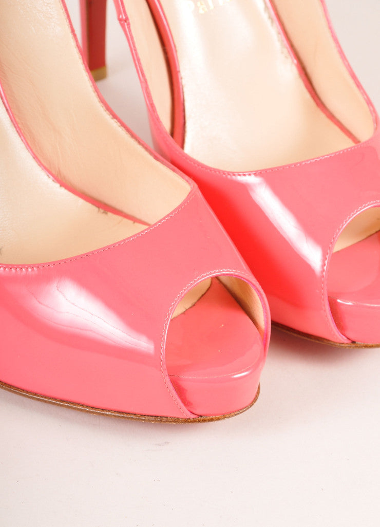 "Christian Louboutin Pink Patent Leather ""So Private"" Peep Toe Slingbacks Detail"