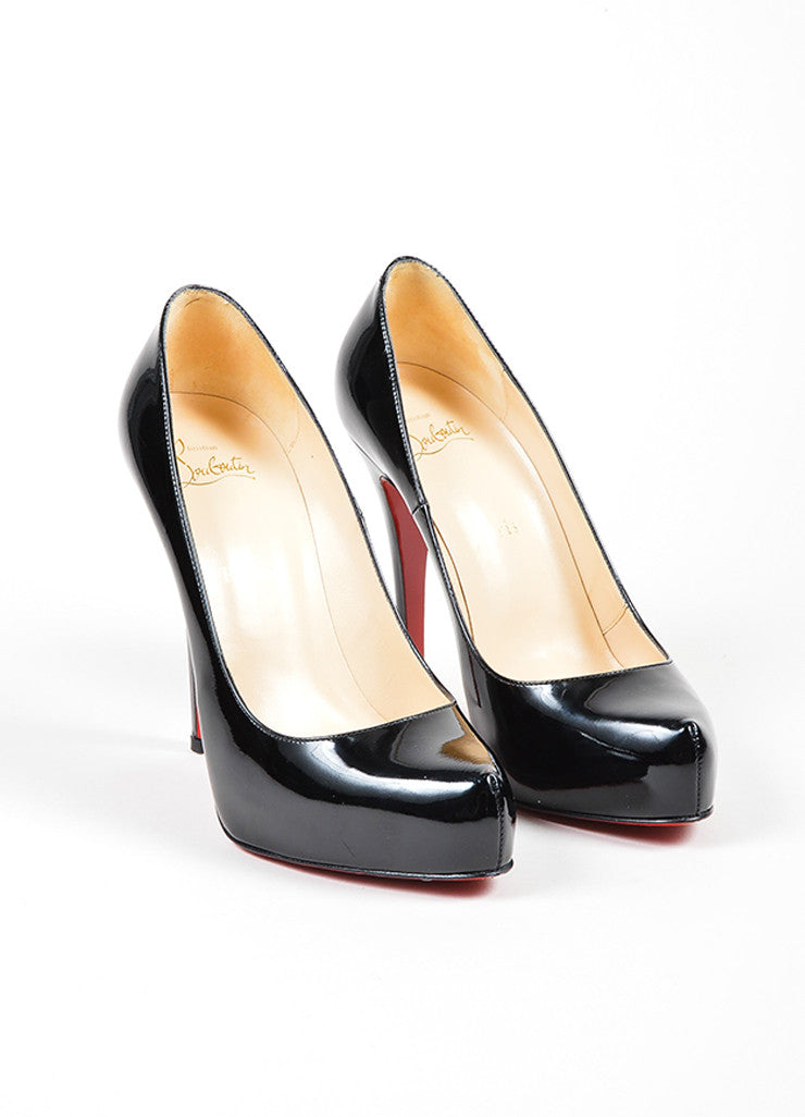 Black Christian Louboutin Rolando 120 Patent Leather Platform Pumps Frontview