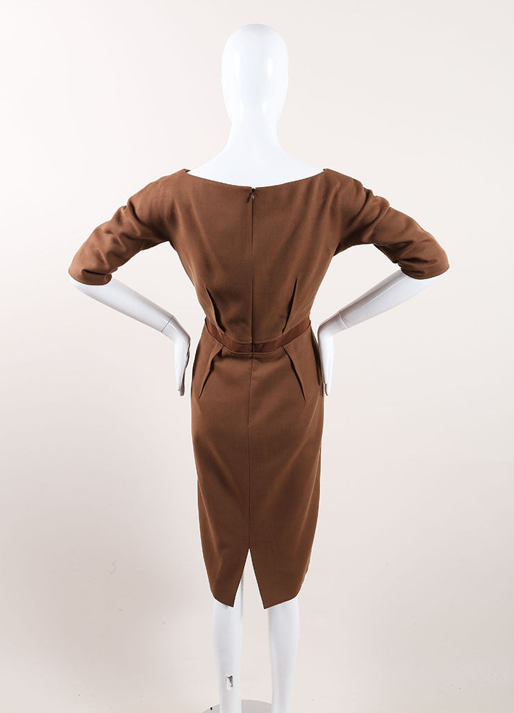 Giambattista Valli New With Tags Brown Wool Sheath Dress Backview