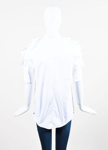 White Givenchy Cotton Ruffle Short Sleeve Button Up Blouse Backview