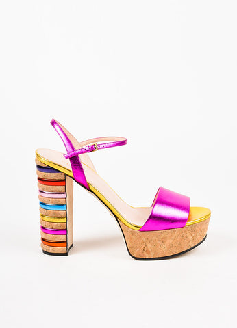 "Gucci Multicolor Metallic Leather ""Claudie"" Cork Platform Sandals Sideview"