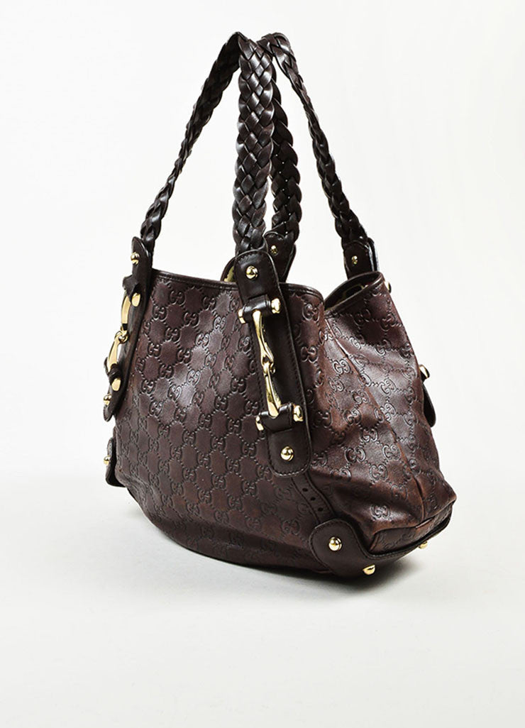 "Gucci Brown 'GG' Embossed Guccissima Leather Braided Handle ""Pelham"" Tote Bag Sideview"