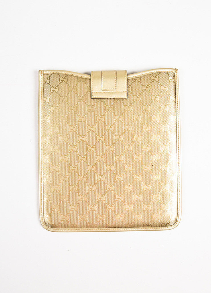 "Gucci Gold Metallic Coated Canvas Leather ""GG"" Ipad Case Back"